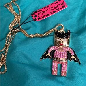 New Betsy Johnson Pink Batgirl Necklace 3""
